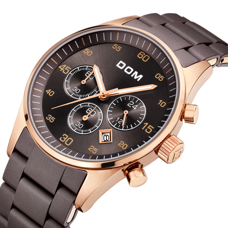 DOM (Dom) Watch Men Business Calendar Quartz Watch Night Light Multi-functional Casual MEN'S Watch M-540G-5M