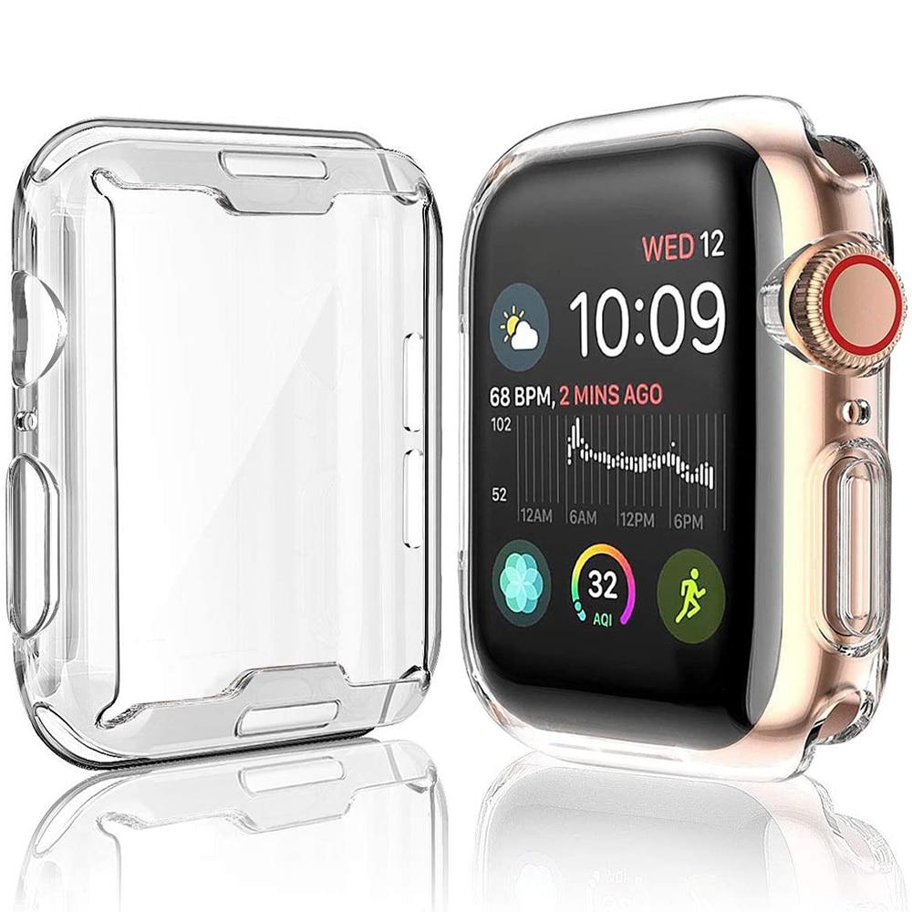 Защитный силиконовый чехол для iWatch Apple Watch Series 6 5 4 3 2 1 SE 38 40 42 44 мм 40 мм 42 мм 38 мм 44 мм защита экрана
