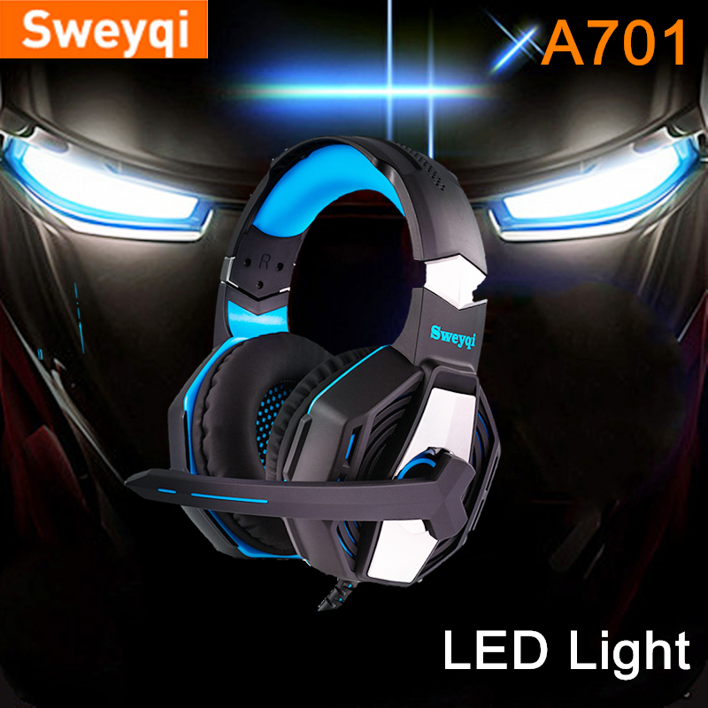 Sweyqi A701 A702 PC/PS4/XBOX Gaming Headphone Wired Soft Earpads Stereo Headphones with Microphone LED lights Noise Canceling