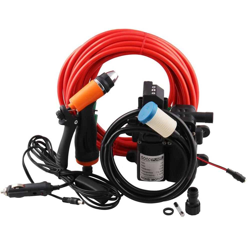 12V Portable High Pressure Washdown Deck Pump 100W Self-Priming Quick Car Cleaning Wash Pump Electrical Washer Kit