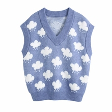 2021 New Spring Women Clouds Jacquard Knitting Sweater Female V Neck Sleeveless Pullover Casual Lady Loose Tops SW1158