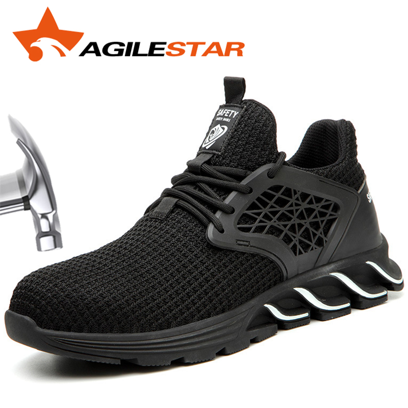 AGILESTAR Shock Absorption Puncture Proof Outdoors Climbing Shoe Steel Toe Woodland Sport Safety Shoes Men Work Boots Light