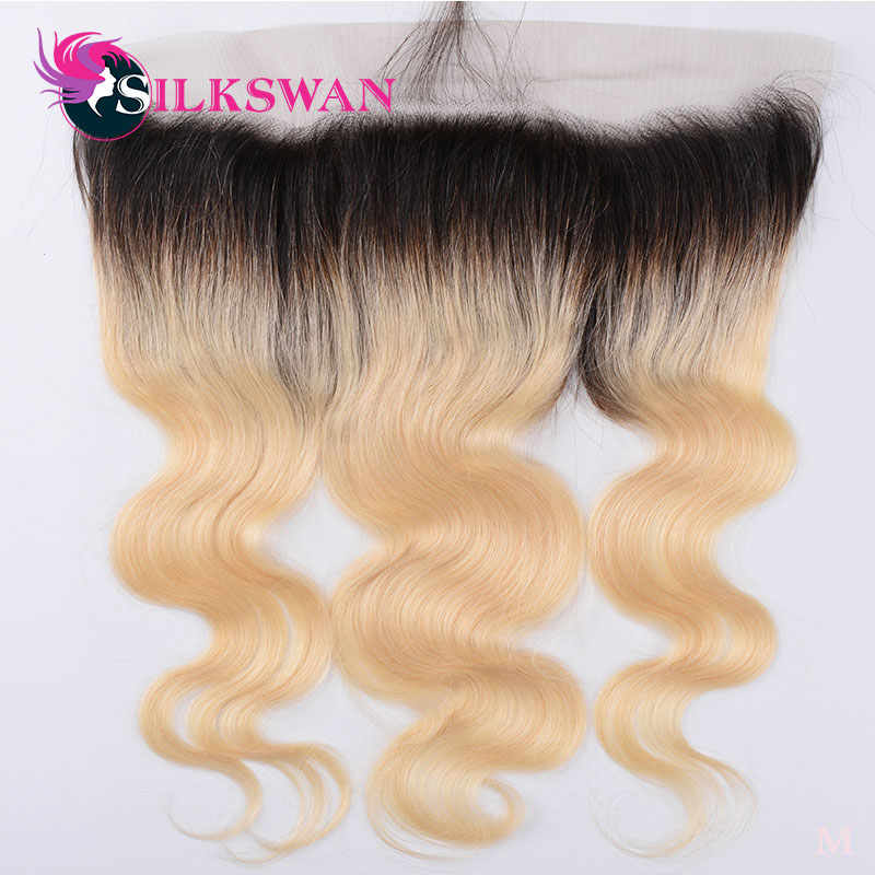 Silkswan Body Wave #1b/613 Ombre Color #613 13*4 Lace Frontal With Baby Hair Human Brazilian Remy Hair Light Brown Swiss Lace