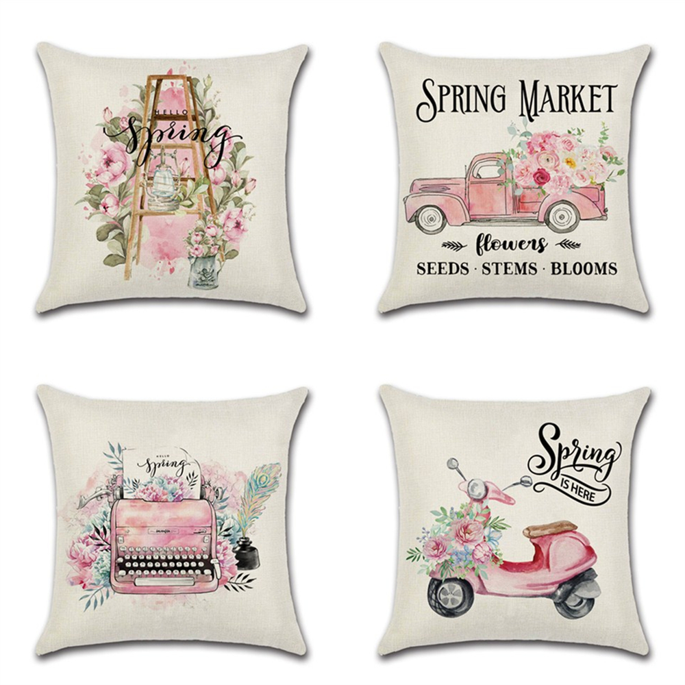 1pcs Sigle-sided Pink Cute  Truck Spring Print Cushion Cover Throw Pillow Cover Nordic Room Decoration For Home Car Sofa Couch