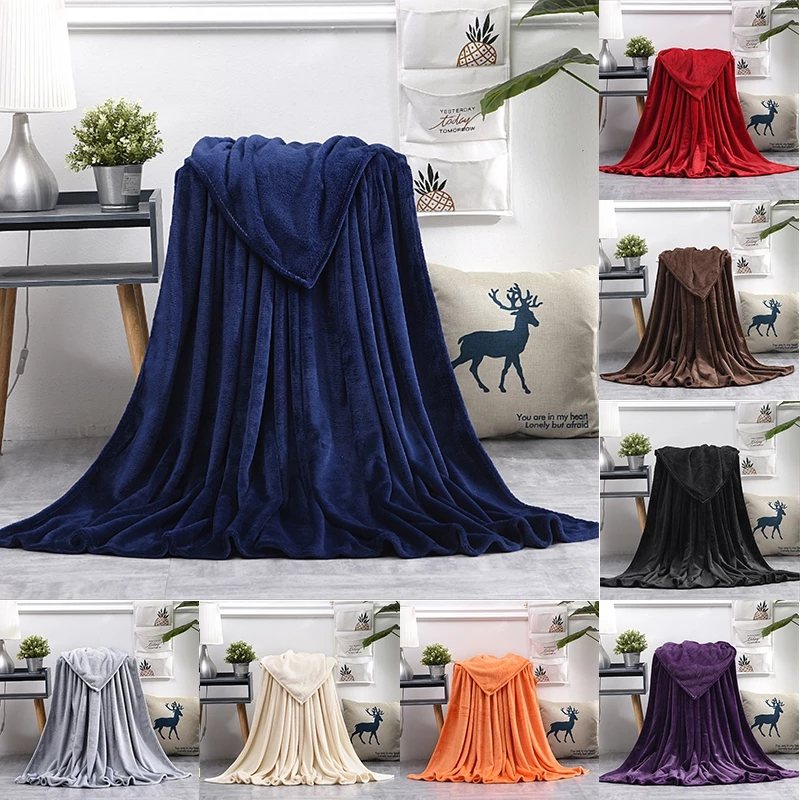 Soft Warm Coral Fleece Blanket Flannel Plush Throw Blankets On Sofa Bed Travel Light Thin Mechanical Wash Solid Color Bedspread-0