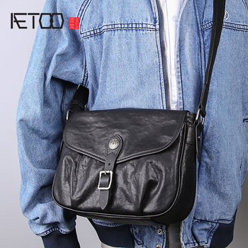 AETOO Leather men's bag, trend retro soft leather shoulder bag, cross-sectional casual head layer cowhide slant bag