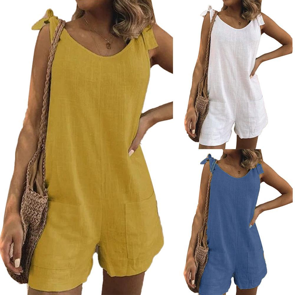 80% HOT SALES!!!Women Solid Color Sleeveless Adjustable Straps Pockets Loose Jumpsuit Dungarees