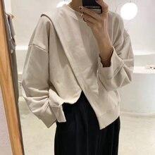 Женский Однотонный свитер с круглым вырезом и длинными рукавами