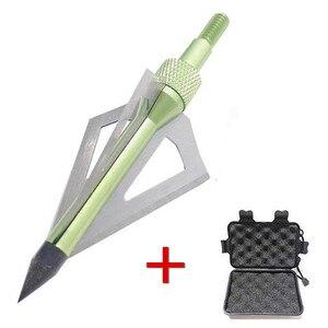 Image 3 - 12 pçs lâmina de tiro com arco flecha com 1pc broadhead caixa 3 fix lâmina 100gr pontas ponto alvo caça tiro seta acessórios