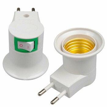 цена на E27 Plug-in Screw Base Light Bulb Lamp Socket Holder Adaptor EU Plug AC Power 220V EU Plug Socket lamp Holder Bulb
