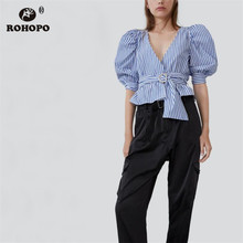 ROHOPO Blue Vertical Striped Puff Sleeve Ruffled Autumn Short Blouse Wrap V Collar Ladies Chic Top Shirt # 9256 roll tab sleeve surplice wrap striped top