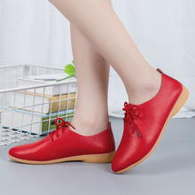 цена на Soft Cow Muscle Sole Women Genuine Leather Loafers Mujer Summer Casual Shoes Ladies Flat Comfortable Lace-up Walking Shoe Female