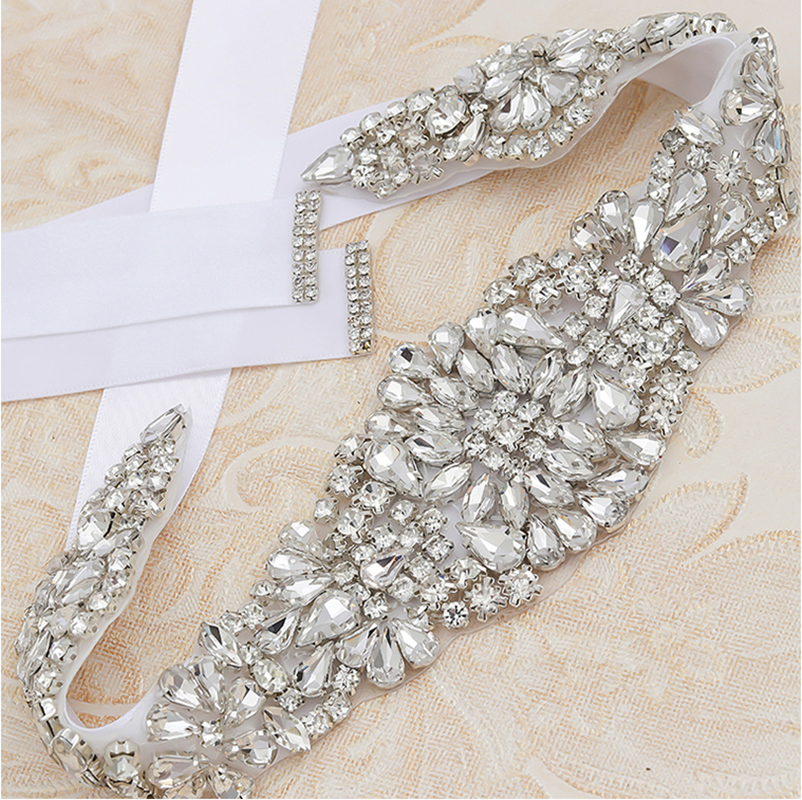 MissRDress Crystal Bridal Belt Handmade Rhinestones Wedding Belt Silver Diamond Wedding Sash For Bridal Accessories JK830