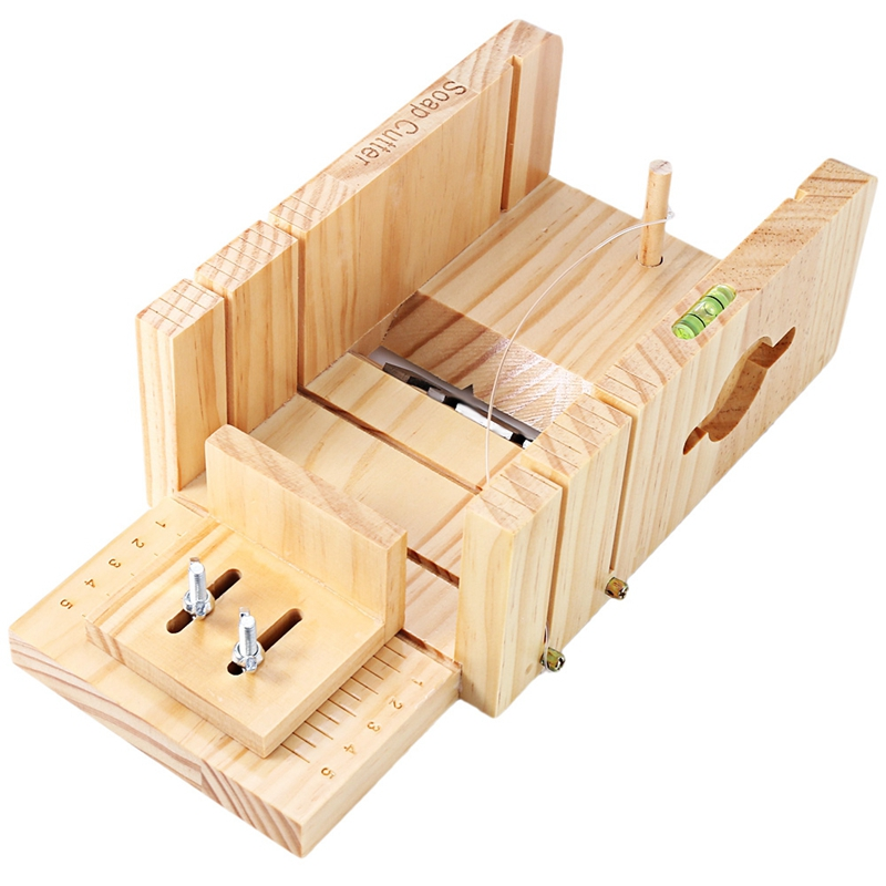 Household Wooden Soap Cutter Box Pine Material Balancing Apparatus Accurate Wire Cutting Adjustable Front Board