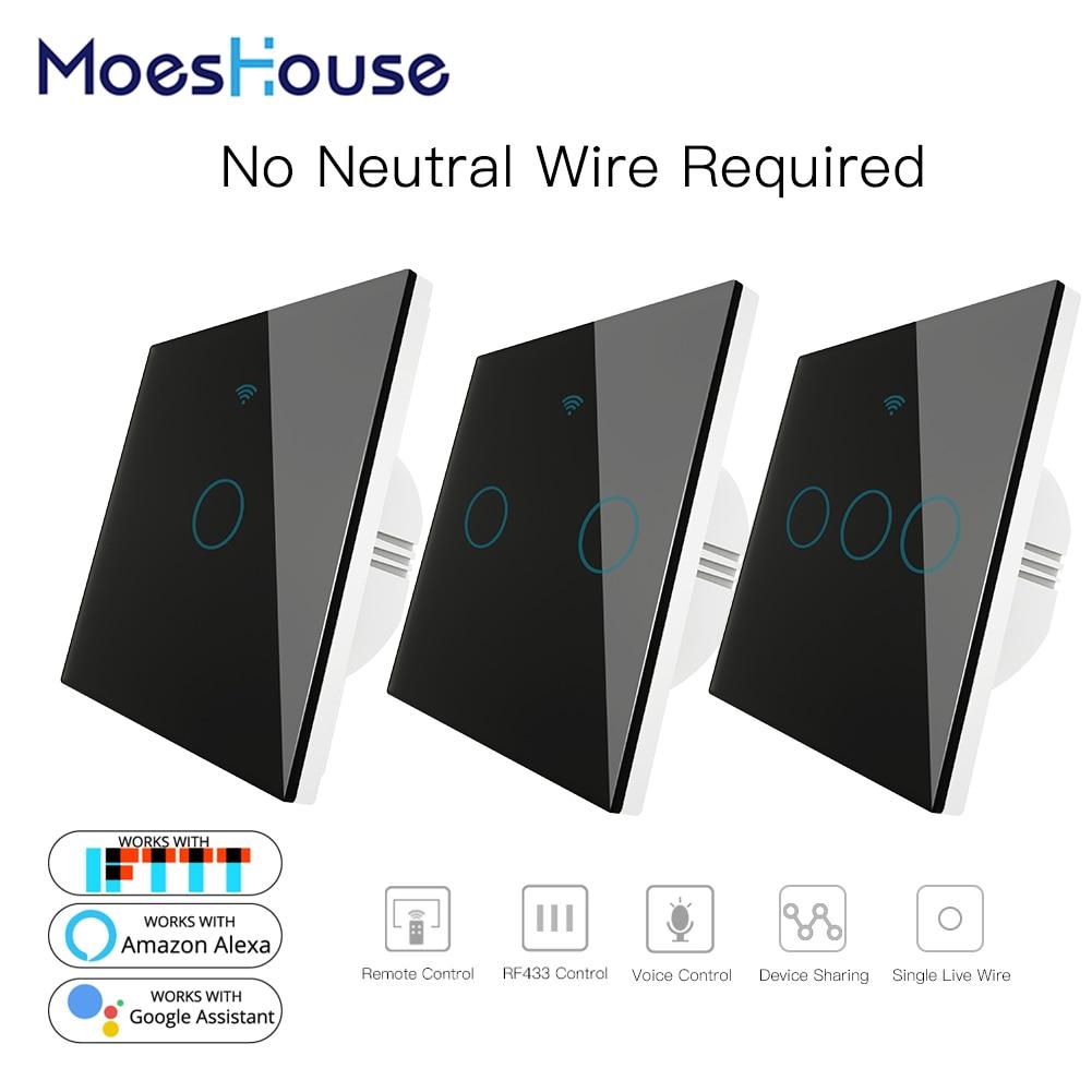 Black WiFi Smart Wall Switch No Neutral Wire Needed Wireless Smart Life Tuya Remote Control Single Fire Work With Alexa RF433