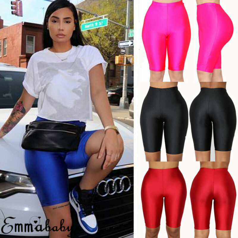 Women Cycling Shorts Dancing Gym Biker Slim Active Sports Solid Sexy Skinny 2019 New Summer Stretch Biker Bike Shorts Leggings