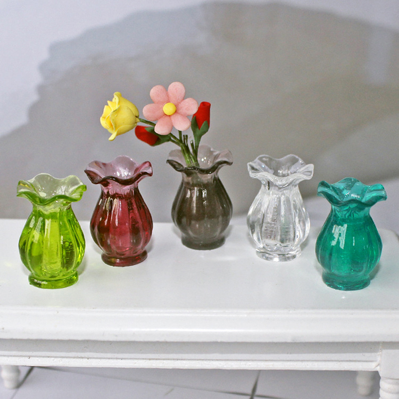 Dollhouse Miniatures 1:12  Colorful Mini Ceramic Pot DIY Handmade Doll House Kitchen Ceramic Ornament Decora Vase