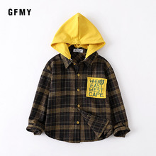 GFMY 2019  Autumn Full Sleeve Fashion With Removable Hat kids Plaid Shirt 5T-14T Casual Big Kid Clothes Can Be a Coat