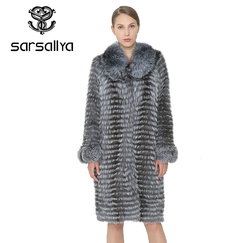 SARSALLYA Real Fur Coat Women Real Natural Fox Fur Winter Warm Long Coats Women Vest Fox Fur Female Clothing Mink Coat