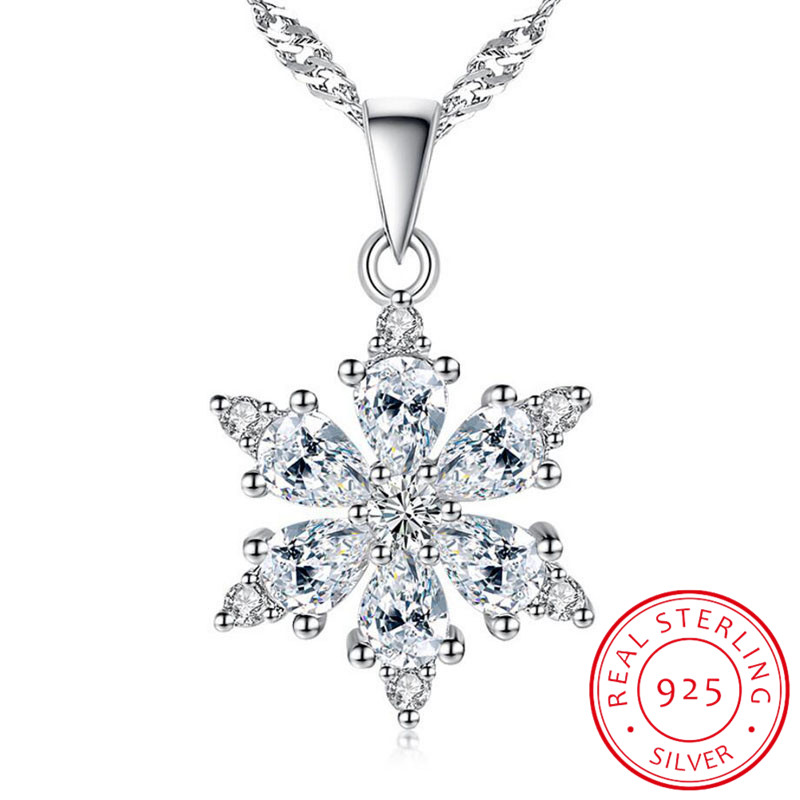 925 Sterling Silver Jewelry AAA Zirconia Snowflake Pendant Necklace For Women Gift 45cm Link Chain Choker Collares S-N134