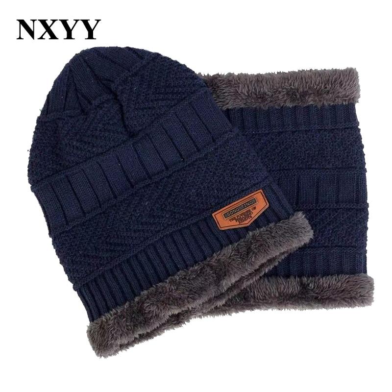 NXYY 2pc Winter Warm Hat Scarf Sets  Beanies Hats Knitted Thicken Men's Ski Cotton Innocent Urinal Bib Bib Leisure Face Mask