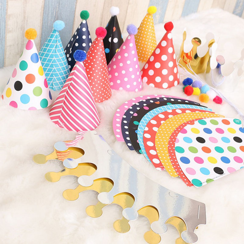 1set Kids Happy Birthday Party Hats Dot DIY Handmade Cap Crown Hat For Children Baby Boy Girl Gifts