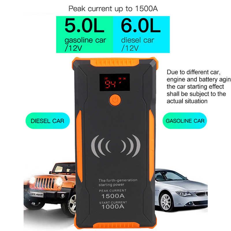 車のジャンプスターターパワー銀行 99900mAh 1500A 車バッテリーブースター充電器 12V 始動装置ガソリンディーゼル車のスターターバスター