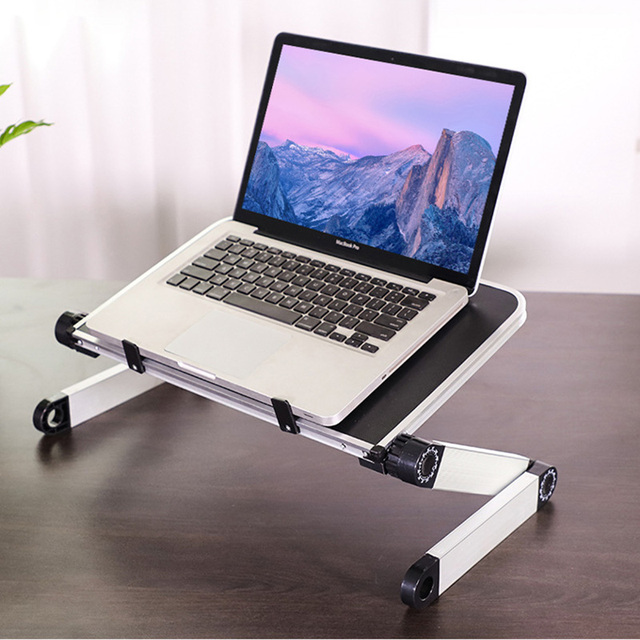 Aluminum Alloy Laptop Portable Foldable Adjustable Laptop Desk Computer Table Stand Tray Notebook Lap PC Folding Desk Table
