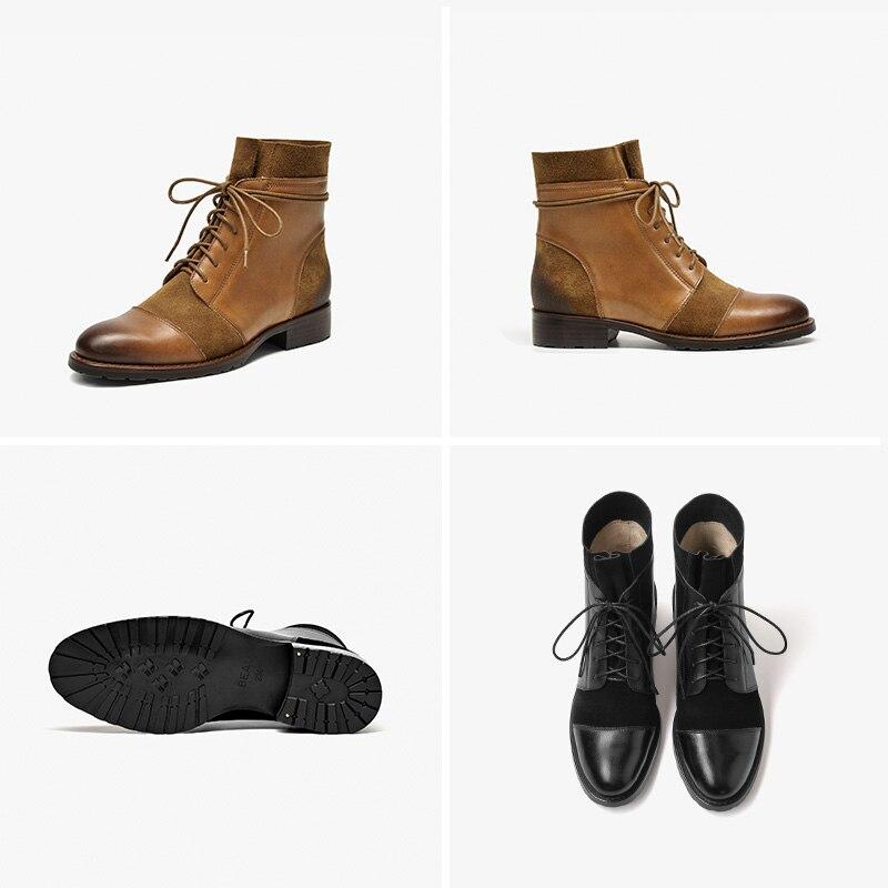 BeauToday Emenda Projeto Outono Inverno Ankle Boots Mulheres Genuíno Couro De Vaca Botas de Camurça da Vaca Da Forma Da Senhora Handmade 03636 - 6