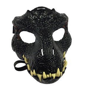 Image 2 - Dinosaur World  Mask with Opening Jaw Tyrannosaurus Rex Halloween Cosplay Costume Kids Party Carnival Props Full Head Helmet