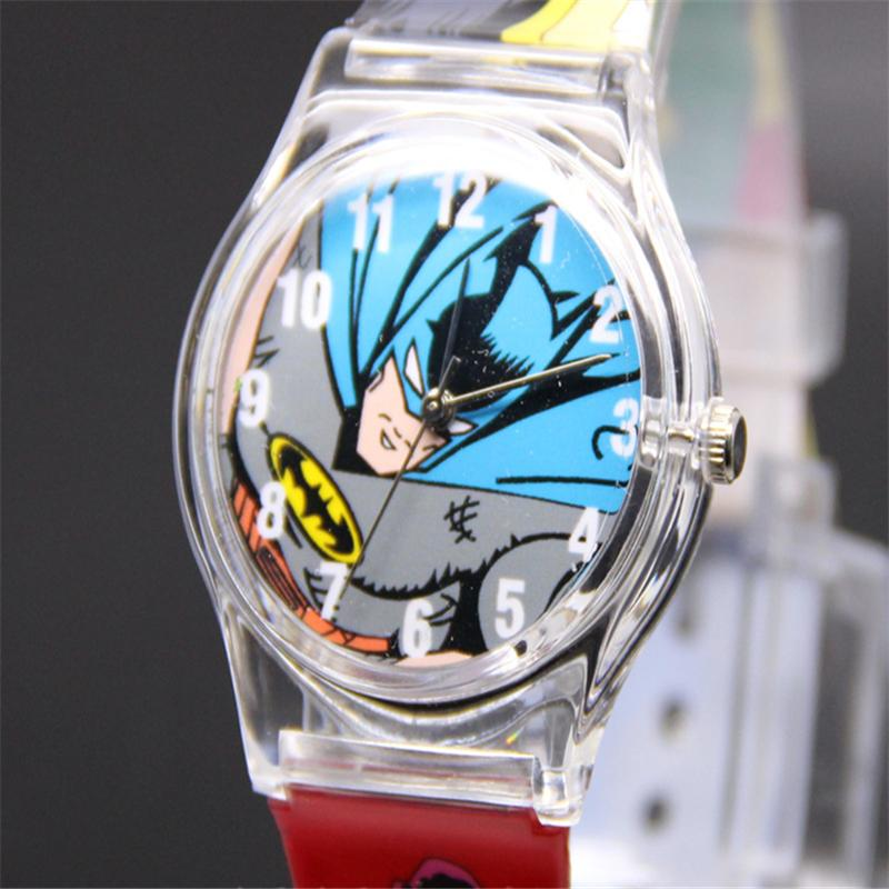 Hot Sale Chilrdren's Lovely Watches Marvel Hero Batman Analog Snap On Silicone Sports Quartz Wrist Plastic Watch Dropshipping