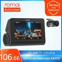 70mai-Cámara de salpicadero A800S para vehículo, 4K, DVR, 2021, GPS integrado, ADAS, imagen UHD, SONY IMX415, 140FOV, Monitor de aparcamiento de coche 24H