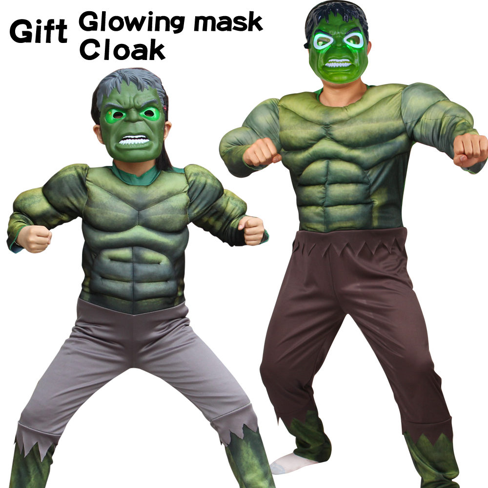 Halloween Christmas Costumes  Green  Hulk With Mask Costume Muscle Cosplay Boy Muscle Superhero Costume Jumpsuits Dress Up