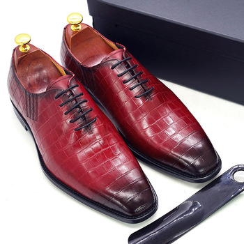 Big Size 6-13 Handmade Mens Oxford Shoes Genuine Leather Crocodile Print Men's Dress Shoes Classic Business Formal Shoes for Men handmade genuine patent leather brand men wedding shoes fashion italian designer formal mens dress shoes big size 6 10