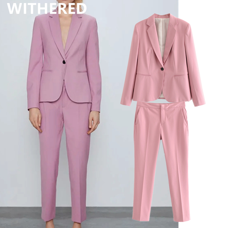 Withered England Style Office Lady Solid Blazer Women Candy Color Ankle-leghth Suits Pants Women Trousers Women Two Pieces Sets