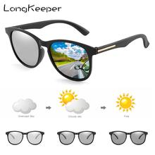 LongKeeper Polarized Photochromic Sunglasses Men Chameloen Square Sport Driving Goggles for Women Change Colors Gafas UV400
