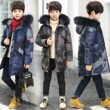 Zimowe kurtki dla chłopca dzieci odzież z kapturem zagęszczonym płaszcze chłopiec dorywczo ciepłe bawełniane puchowe parki dla dzieci Outdoor kamuflażowa odzież