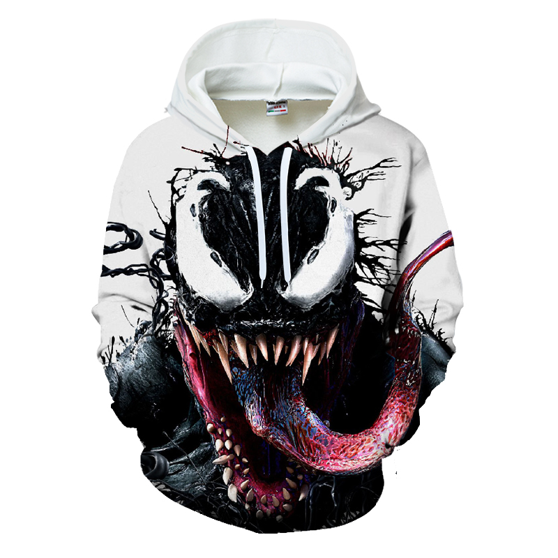 Hot Sale Anime Venom Printed 3D Sweatshirt Hoodies Men Women Superhero Design Pullover Autumn Long Sleeve Streetwear Male