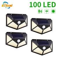 100 luci solari a LED per esterni 3 modalità sensore umano lampada solare PIR sensore di movimento lampada da parete per illuminazione stradale via giardino