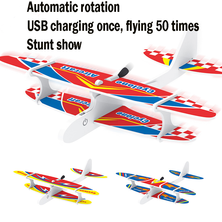 USB Charging Foam Electric Aircraft And Biplane Charging Rotary Model Aircraft  Hand Thrown Electric Glider Stunt Show