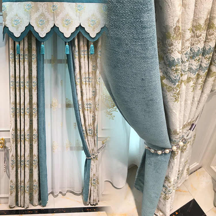 High-grade Chenille Jacquard Shade Curtains for Living Dining Room Bedroom.
