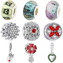 Simple Style Crystal Enamel Flower House Letter Butterfly Bow Heart Minnie Beads Fit Pandora Charms for Women DIY Jewelry(China)