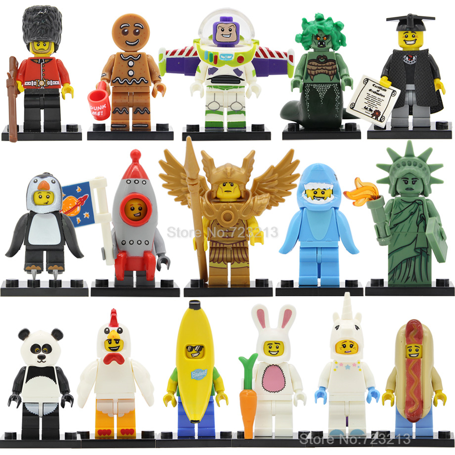 Chicken Unicorn Panda Figure Man Single Sale Statue Of Liberty Golden Saint Medusa Buzz Lightyear Building Blocks Toys Legoing