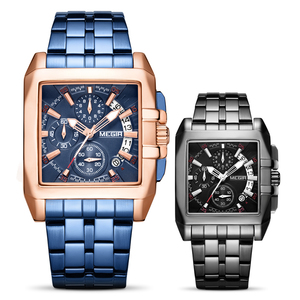 Image 5 - MEGIR montre à Quartz de luxe pour hommes, en acier inoxydable, montre bracelet, grande marque, Business, chronographe