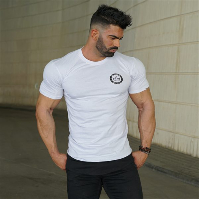 Men 39 s Summer Street Dress Short Sleeve T Shirt Fitness Bodybuilding T Shirt Slim Sports Fashion Casual Men 39 s Short Cotton T Shir in T Shirts from Men 39 s Clothing