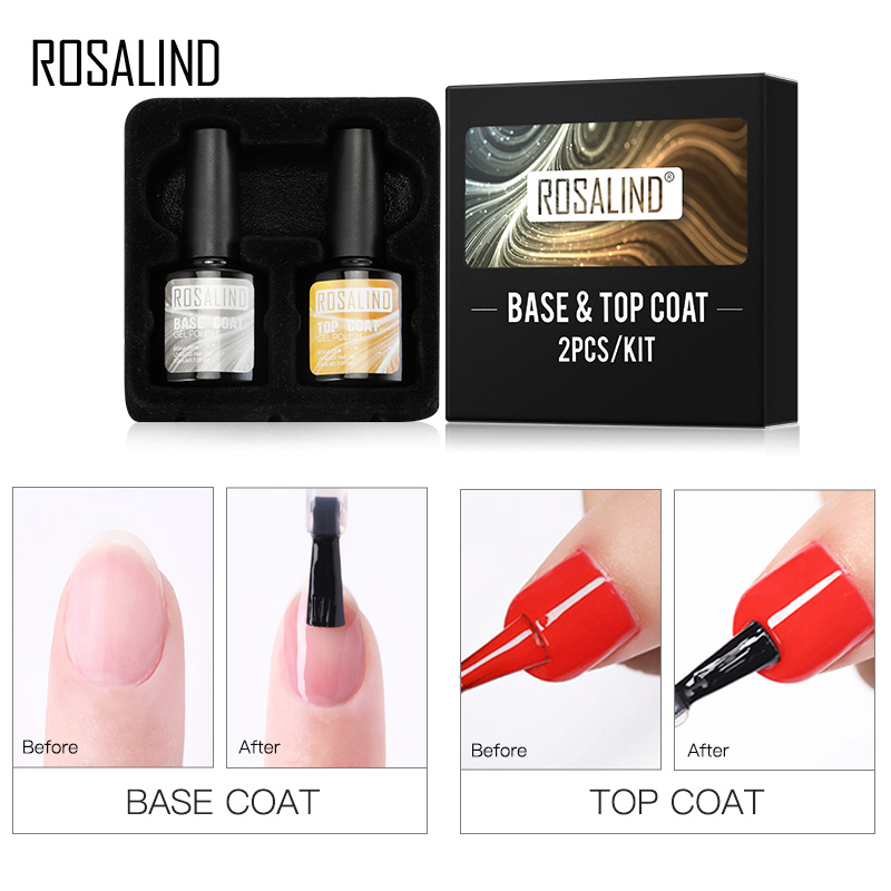 ROSALIND Base And Top Coat Kit Gel Nail Polish 10ML All For Manicure Gel Lacquer Soak Off TOP BASE Coat For Nail Art Design