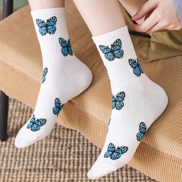Новые носки с бабочками  модные забавные хлопковые носки с вышивкой 2