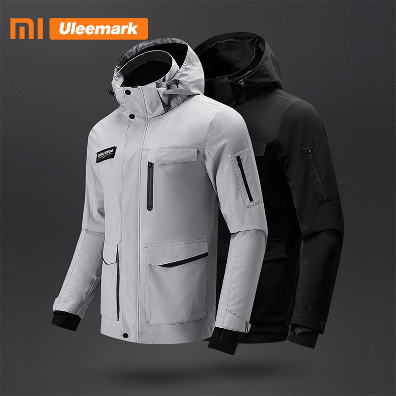 Xiaomi Men's Waterproof Jacket Lightweight Packable Rain Coat Sport Jacket Hooded Windbreaker Uleemark