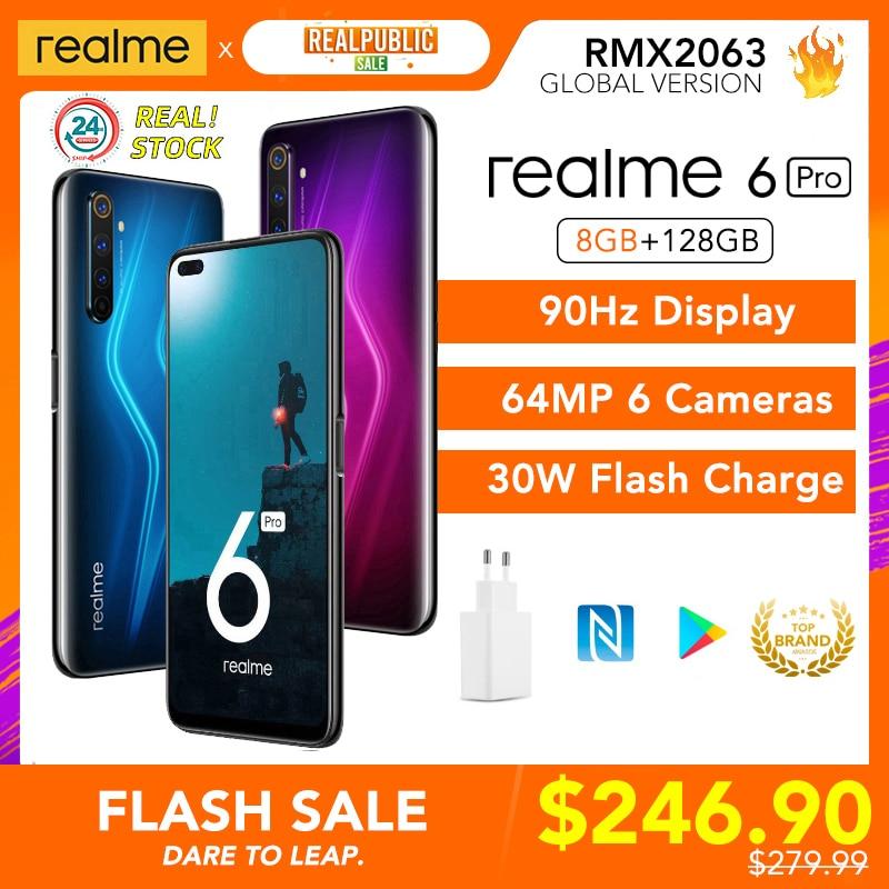 realme 6 Pro 8GB RAM 128GB ROM 6pro Global Version Mobile Phone Snapdragon 720G 30W Fast Charge 64MP Camera Original EU Plug NFC Cellphones  - AliExpress