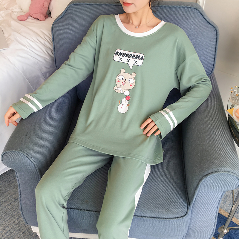 305 # Lettered Chubby Bear Pullover ZY Long Sleeve Korean-style Sweet Little Fairy Pajamas Tracksuit Two-Piece Set